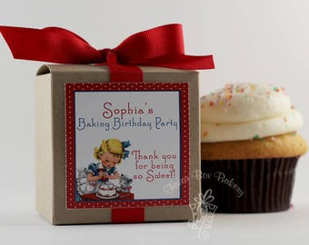 VINTAGE BAKER - One Dozen (12) Personalized Cupcake Mix Birthday Party Favors