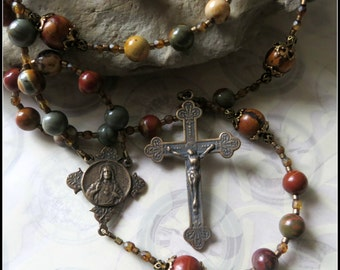 Large Red Creek Jasper Traditional Rosary for Men w/ Bronze Sacred Heart of Jesus Center