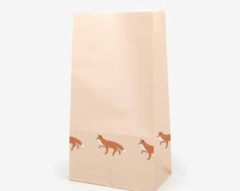10 Patterned Winter Fox Paper Bags - Great for goodies, gifts, envelopes, party favors, for your scrapbooking projects, wrapping paper