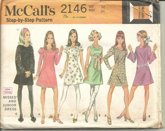 1960s Mod Mini Dress Sleeve Variations Round Neckline Only One Piece Cut McCall's 2146 Size 14 Bust 36 Womens Vintage Sewing Pattern