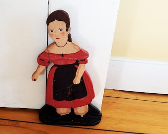 Vintage Folk Art Wooden Cutout Doorstop Young Girl /1970s Antique Reproduction Colonial Hand Painted  Girl in Red/ Colonial Home Decor