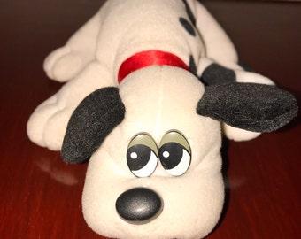 vintage 1980's Tonka white mini Pound Puppies plush  toy dog RAD