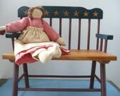 Patriotic Wooden Doll Bench, Deacon's Doll Bench - Americana Doll Furniture - Colonial Doll Furniture - Country Doll Furniture