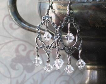 Romantic Crystal Chandelier Earrings, Filigree, Georgian Jewelry, 18th century jewelry