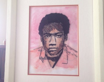 Hand-stitched Childish Gambino portrait - Because the Internet