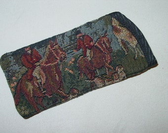 Horse Hunt Scene Hounds and Foxes Tapestry Equestrian Eyeglass/Sunglass Cases