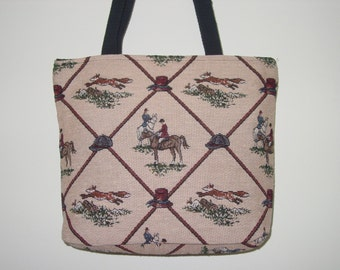 Horse Hunt Scene,Fox Hunt Scene Tote Purse,Tapestry All in One Tote Bag and Purse,Equestrian Handbags Available 2 Colors