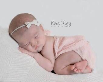 Ivory headband, small bow headband, YOU CHOOSE COLOR, newborn baby hair bow, newborn girl bow, baby bow, newborn hair bow, tiny hair bow
