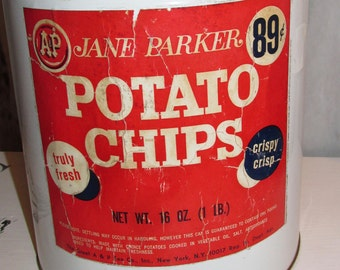 Large Antique A & P Potato Chip Can Advertising Tin