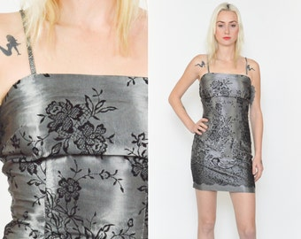 90's GREY FLORAL Mini DRESS. Silver Metallic/ Burnt Out Floral Velvet/ Spaghetti Strap 90's Grey and Black. Satin Mini Dress size - S/M