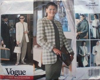 Vogue Career Wardrobe - Misses/Misses Petite Jacket, Dress, Top, Skirt and Pants - Vogue 2948 - Sizes 12-14-16, Bust 34 - 38, Uncut