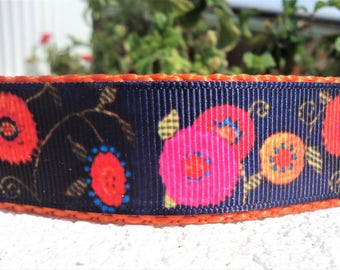 "Girl Dog Collar 1"" Quick Release or Martingale collar style Flower Power 2 - sizes S - XL - see detailed info within"