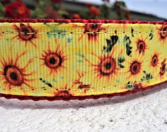 "Sale  Dog Collar 1"" Martingale collar or Quick Release buckle Sunflower - sizes S - XL - see detailed info within"