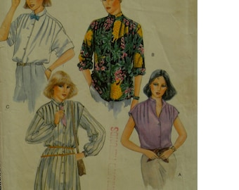 "Shoulder Tuck Blouse Pattern, Long/Cap Sleeves, Band Neck, Collar, Long Tunic, Vogue No. 7304 Size 10 (Bust 32.5""83cm)"