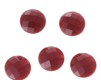 10 Resin Dark Red Transparent Glitter Faceted Dome 8mm