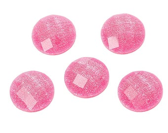 10 Resin Bright Pink Transparent Glitter Faceted Dome 8mm