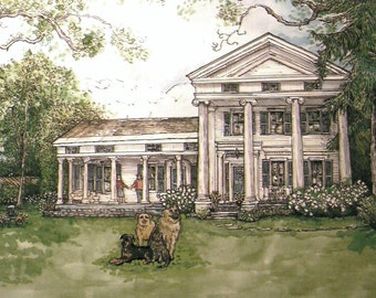 House Portrait with Your Pets,Custom Watercolor of Your Home with Dogs,Cats,Pets handpainted,Unique Gift,Personalized Art,Patty Fleckenstein