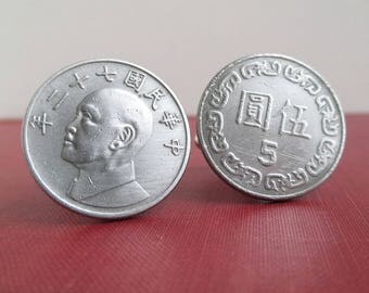 TAIWAN Coin Cuff Links - Vintage Republic of China Repurposed Coins