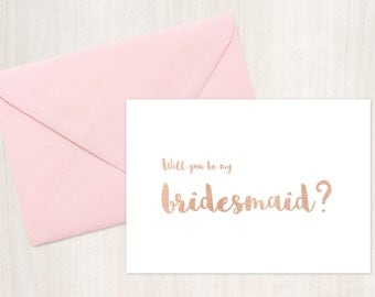 Rose Gold Printable Bridesmaid Card, Bridesmaid Card Printable, Instant Download, Will you be my bridesmaid card, be my bridesmaid card