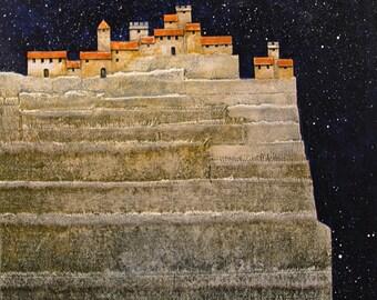 Tuscan village print/Italian landscape/ Italy art/ --14 x 11--Fine Art Giclee Print
