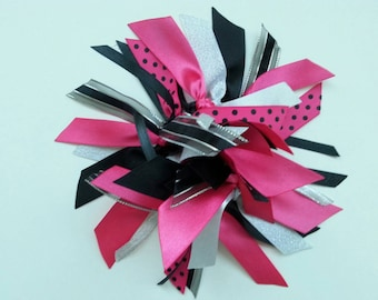 Ribbon Ponytail Streamer in Hot Pink, Black, and Silver