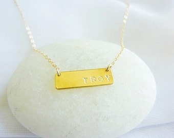 Personalized Necklace,Initial Necklace,Nameplate Necklace,Rectangel Necklace-Name Necklace-Engraved Necklace,Bar Necklace,Name Tag Necklace
