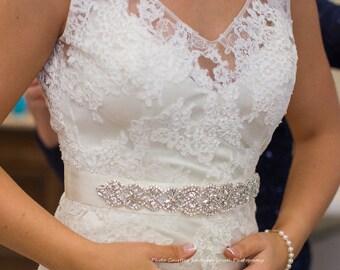Wedding Belt, 11 inch Rhinestone Bridal Sash, Crystal Pearl Bridal Belt, Vintage Style Diamante Wedding Dress Sash, No. 4060S1.5-11A