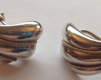 Sale Vintage Tiff and Co  Earrings Marked Sterling and 14K Shell and Rope Design