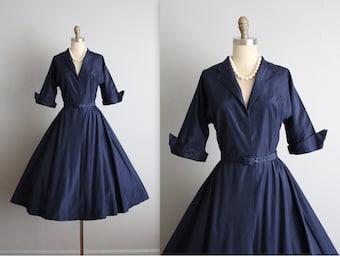50's Taffeta Dress // Vintage 1950's Navy Taffeta Cocktail Party Evening Shirtwaist Dress S