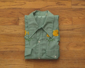 mens vintage embroidered western shirt