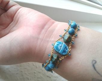 Vintage Scarab Bracelet - Ceramic, glass & Stone Bracelet - Summer, turquoise, festival