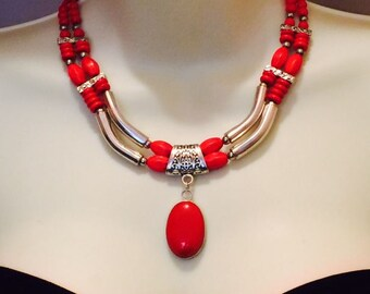 Stylish Red silver statement necklace set, big, bold, chunky, multi-strand, cascade necklace, gift idea, earrings red, handmade