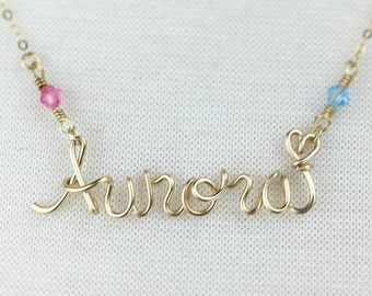 Disney Princess Necklace with Birthstone Crystals, Gold Disney Jewelry, Aurora Necklace, Sleeping Beauty,  Personalized Grandaughter Gift