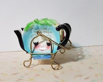 Vintage Anthropomorphic Tea Bag Holders Kitsch 1950's