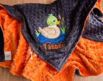 Personalized Minky Baby Blanket,  Mallard Duck Minky Baby Blanket, Personalized Baby Boy Blanket, Personalized Baby Gifts