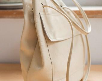 FOKS FORM Bi Bag 03, Minimal leather tote bag, handbag, backpack
