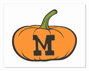 Printable Digital Download DIY - Fall Art Monogram Pumpkin - short M - Print frame or cut out for seasonal Halloween decorating orange black