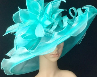 Mint Green Kentucky Derby Hat ,Organza Hat ,Derby Hat,Dress Hat ,Bridal Wedding Hat,Tea Party Hat Ascot