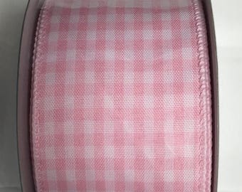 20% OFF 2.5 Inch Pink White Gingham Ribbon S00290-40010-0117, Deco Mesh Supplies