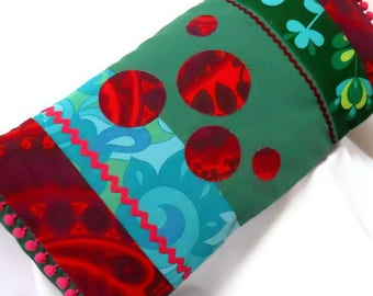 WOW! SALE RETRO patchwork Cushion, Bold Red and Green Vintage Fabrics and Heals Barkcloth