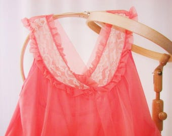 Bouquet Chiffon Babydoll Nightgown Top Coral Med 60s