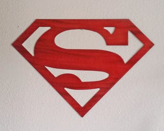 Recycled steel SUPERGIRL Superman logo custom red patina Superhero logo art