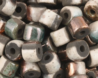 Ceramic-6x8mm Tube Beads-Copper Raku-Quantity 6