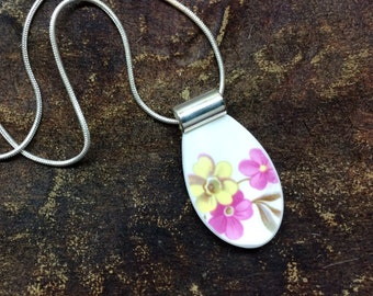 SALE - end of art show season - Recycled broken china plate necklace