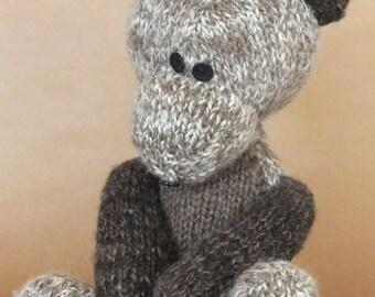 Teddy bear, hand knitted teddy, hand spun yarn