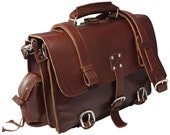 Made in USA Leather Briefcase Messenger Bag Backpack LARGE - Limited Edition BURGUNDY! Distressed, Rugged