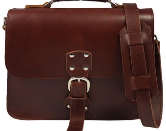 Made In USA! Indiana Leather Satchel - Indiana Jones Bag Pouch Distressed, BURGUNDY!