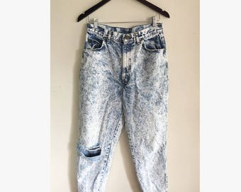 Vintage Chic 80s 90s High Waist Acid Wash Jeans, Women's Jeans, Faded Jeans, Distressed Denim, Frayed Denim, Ripped Jeans, 30 Waist