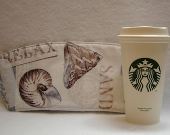 Arti REVERSIBLE Coffee Cup Sleeve,  for Starbucks to go Seashell Beach print with Coral print pocket