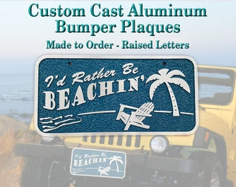 Aluminum License Plate - Personalized - Car Plaque - Bumper Plate - Vanity Plate - Custom Cast Aluminum - Made to Order
